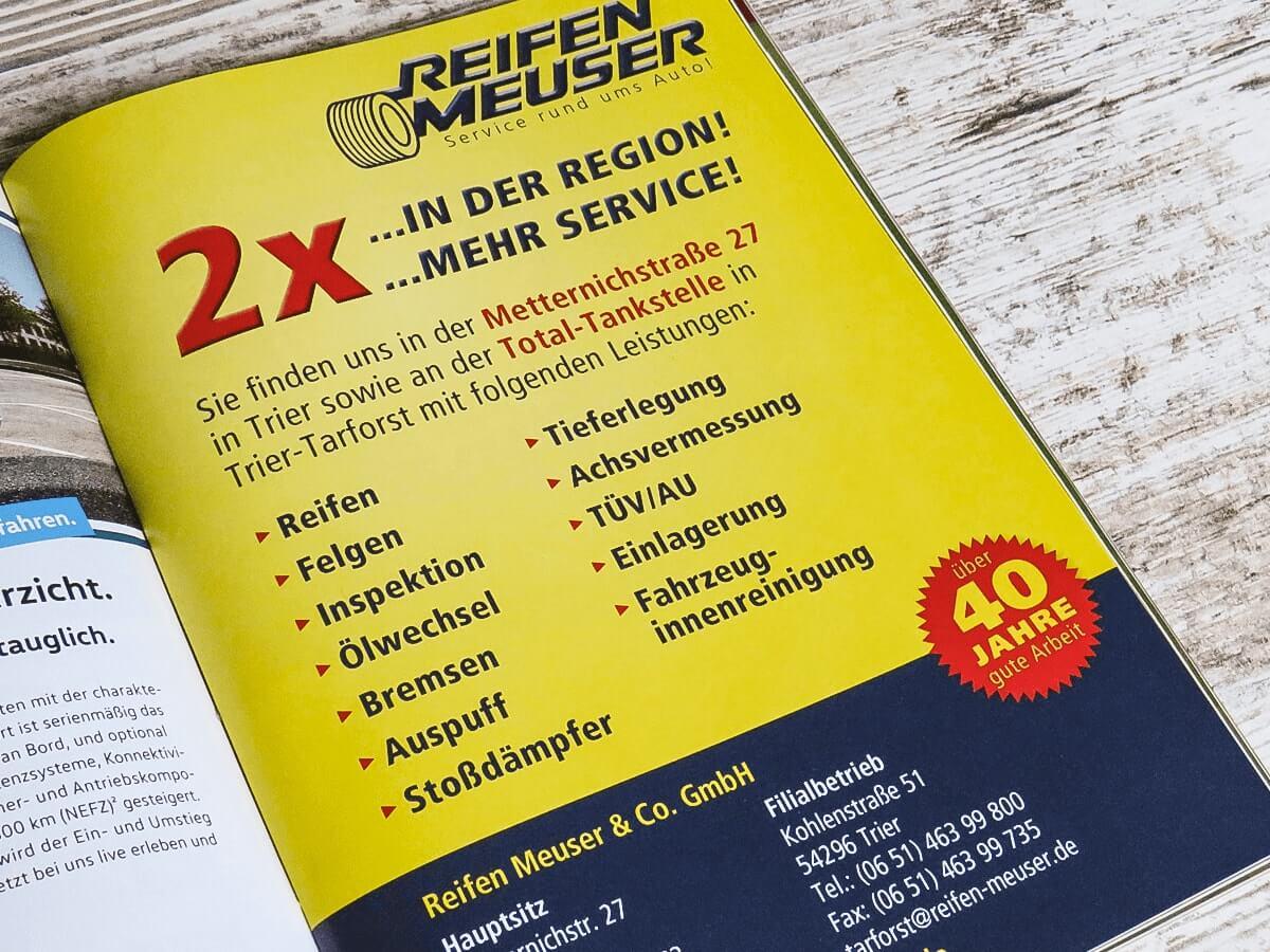 Reifen Meuser GmbH - Anzeigengestaltung