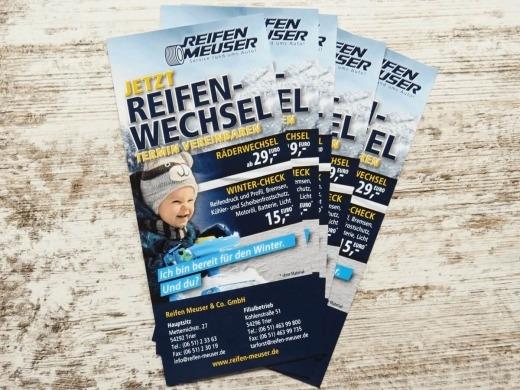 Reifen Meuser GmbH - Gestaltung von Flyern